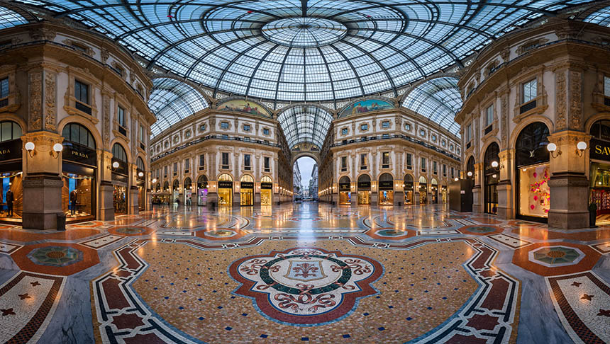 MILAN, ITALY - JANUARY 13, 2015:  Galleria Vittorio Emanuele II in Milan. It's one of the world's oldest shopping malls, designed and built by Giuseppe Mengoni between 1865 and 1877.